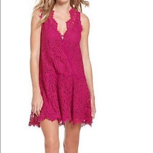 NWT Free People Pink Lace Dress Bright Orchid